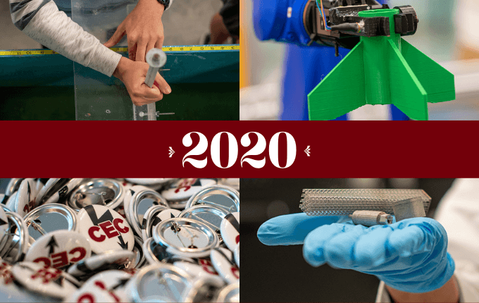 2020 in between four images including hands using a ruler, a robot holding a 3d printed part, a pile of CEC buttons, and a hand holding metal parts