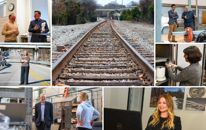 collage of seven photos including faculty members working in the lab, train tracks, and a woman using a laptop