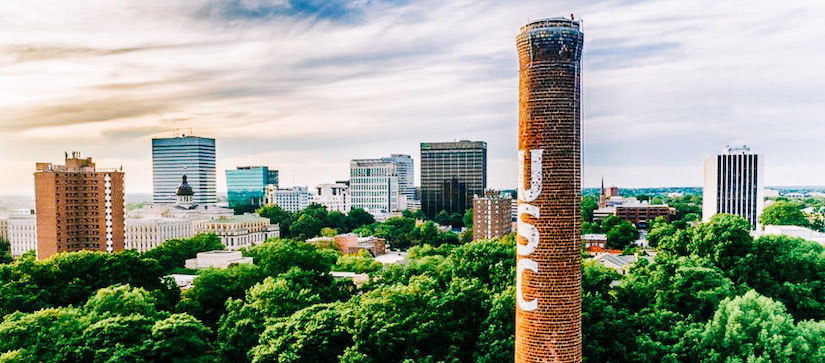 USC smokestack towering over Columbia, SC