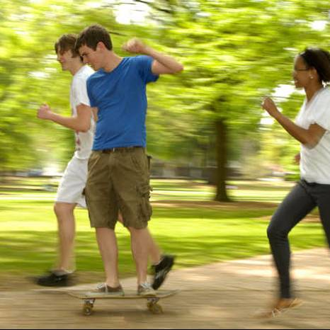 students on skateboards