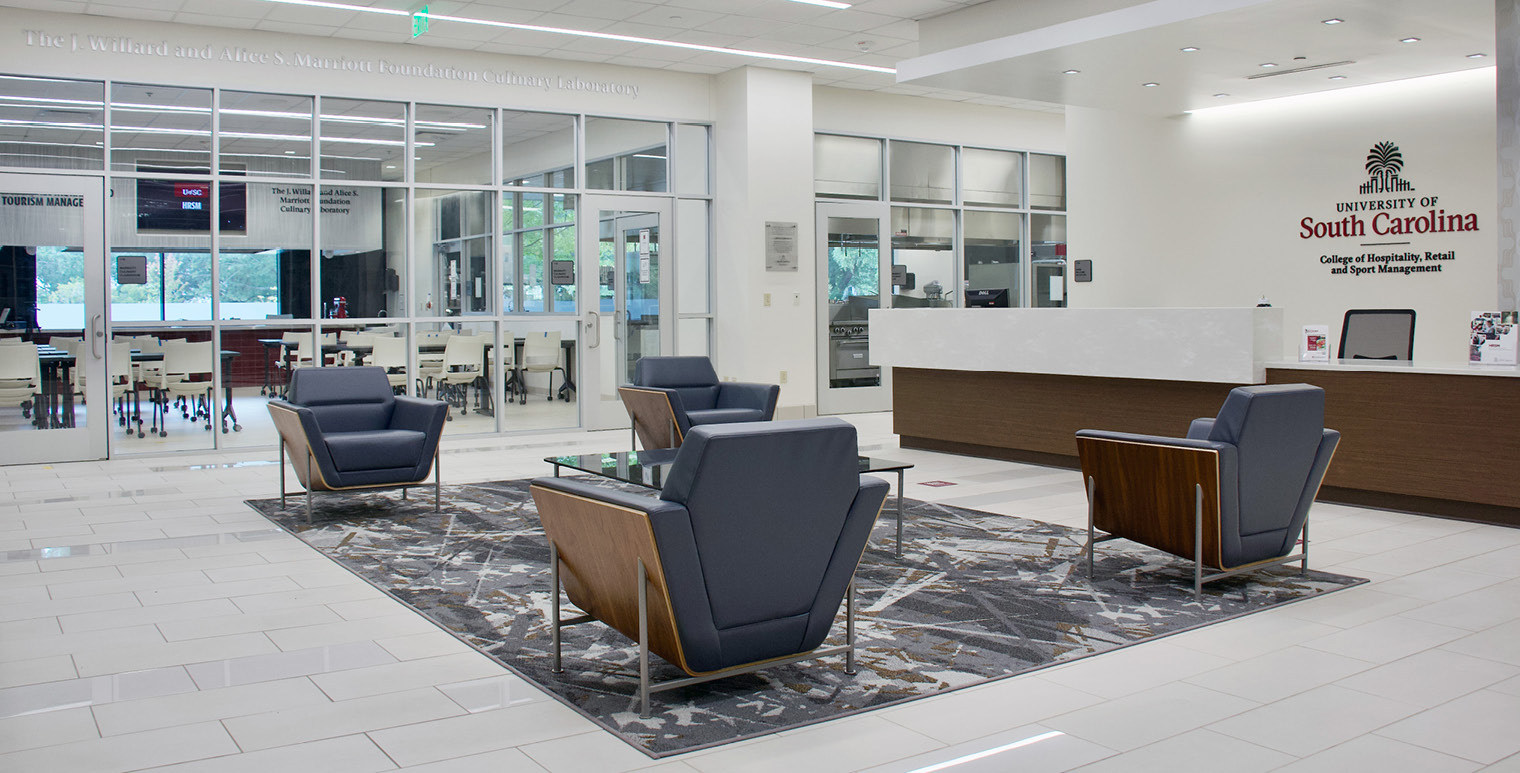 Located on the first floor of the Close-Hipp Building, the HRSM Welcome Center opened in 2019 and is dedicated to serving prospective students and their families.