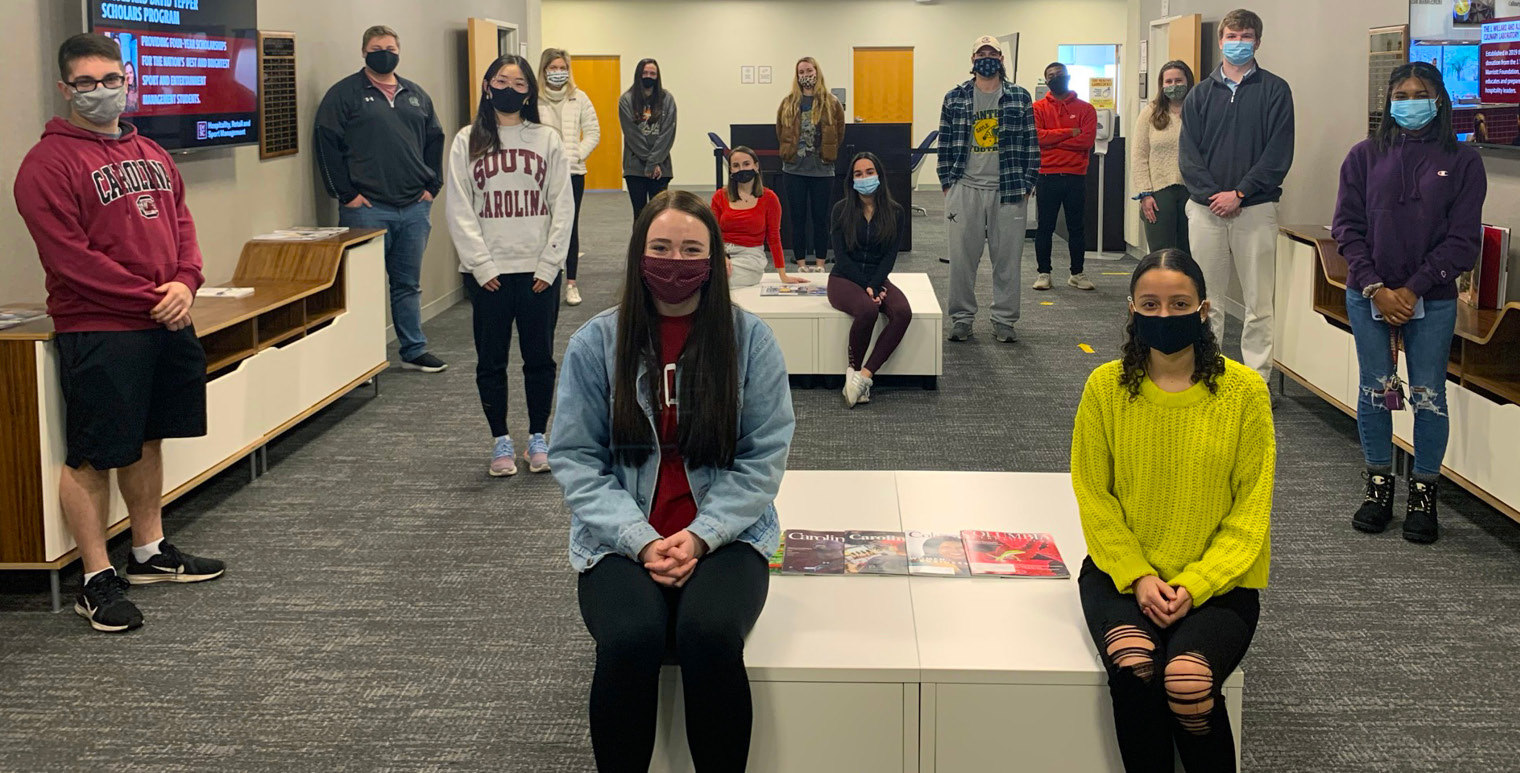 HRSM Student Ambassadors volunteer their time to help prospective and current students learn more about opportunities at the College of HRSM. Pictured in our Dean's Office Lobby, this new cohort of ambassadors just completed their training and are ready to help!