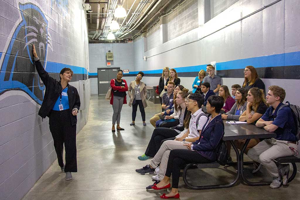 Students spent the day learning from the pros with the Carolina Panthers at Bank of America Stadium in Charlotte, North Carolina.