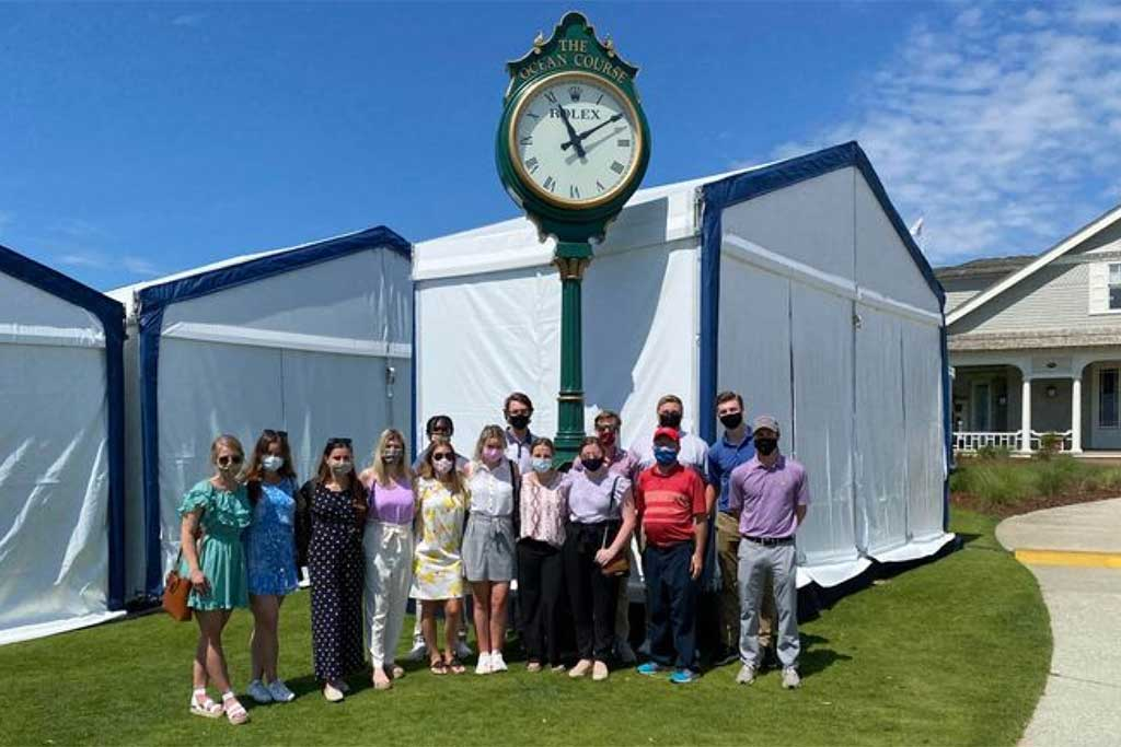 Students had an exclusive look at Kiawah Island Golf Resort's Ocean Course as it hosted the PGA Championship as part of a Maymester trip focused on tournament operations.