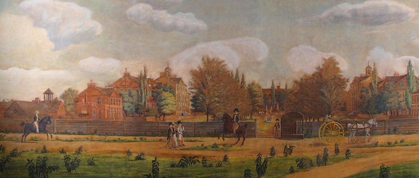 A historic painting showing the early Horseshoe pictures McCutchen House, then a faculty residence, along with other buildings of the newly established university.