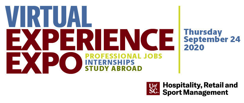 Graphic image with Experience Expo text: Professional Jobs, Internships, Study Abroad