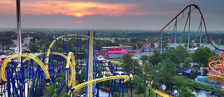 View of Carowinds rollercoaster, Nighthawk, at sunset