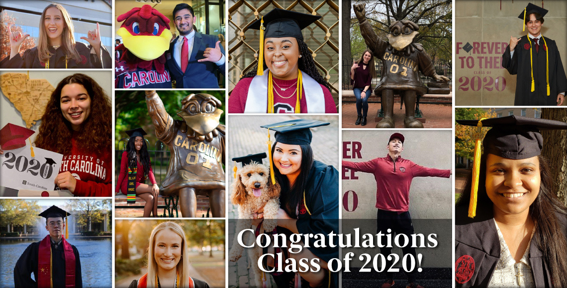 Grid of photos featuring December 2020 graduates in their cap and gowns or holding graduation posters