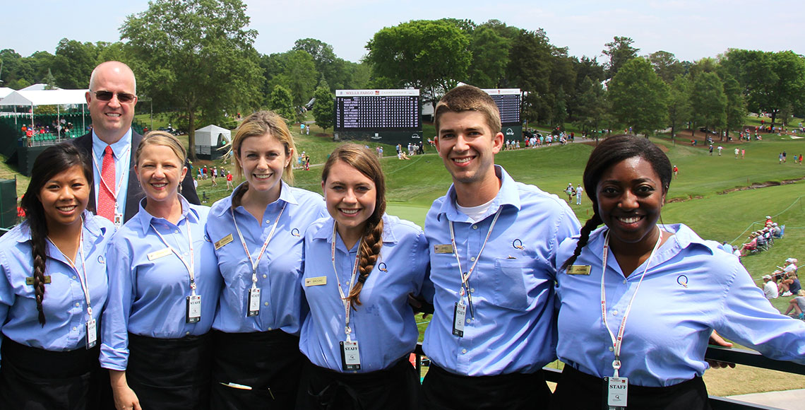 Hotel, Restaurant and Tourism Management students work the Wells Fargo Championship at Quail Hollow Golf Course in Charlotte, NC