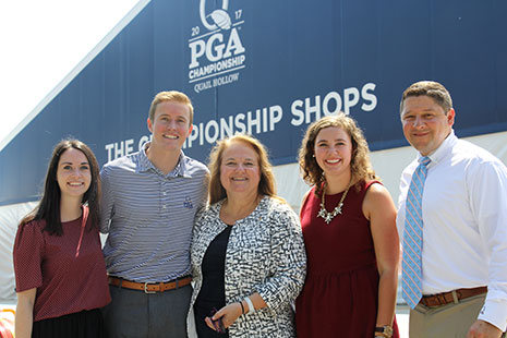 Tom DeLozier and HRTM students at the 2017 PGA Championship