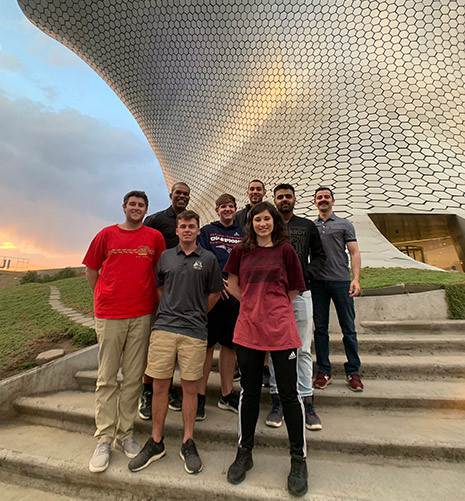 Professor Armen Shaomian and Sporty Jeralds led a Maymester abroad to Tampa, Florida and Mexico City, Mexico. In this photo, the group is wrapping up an incredible week in Mexico City at the world famous El Museo Soumaya with art ranging from Byzantine to contemporary.