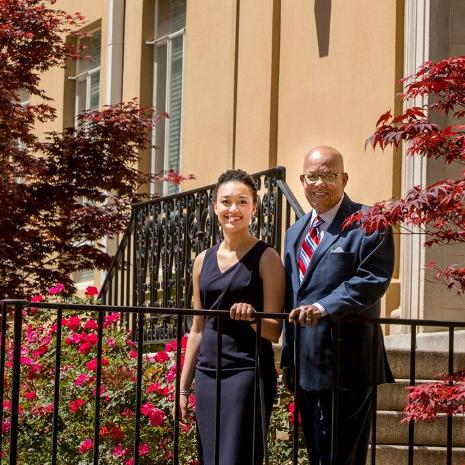 Chelsea Evans and I.S. Leevy Johnson on the steps of Petigru College, the home of School of Law when Johnson attended.