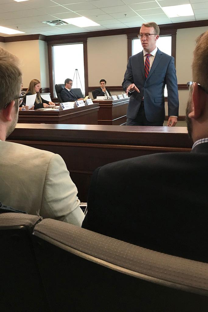 Dallas Meacham addresses the jury.