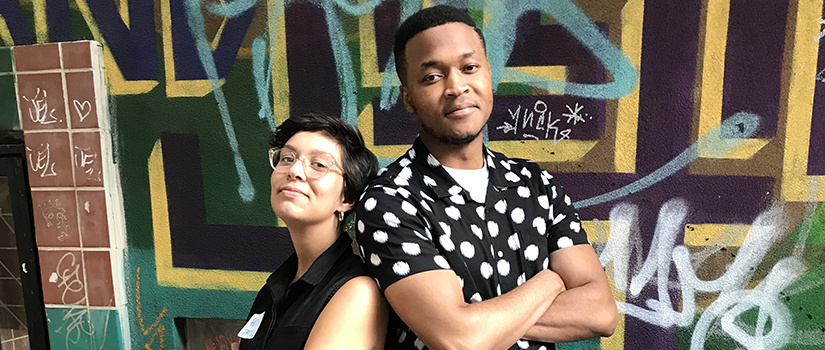 Aaron Greene (right), with fellow Ella Baker intern Beth Patel.