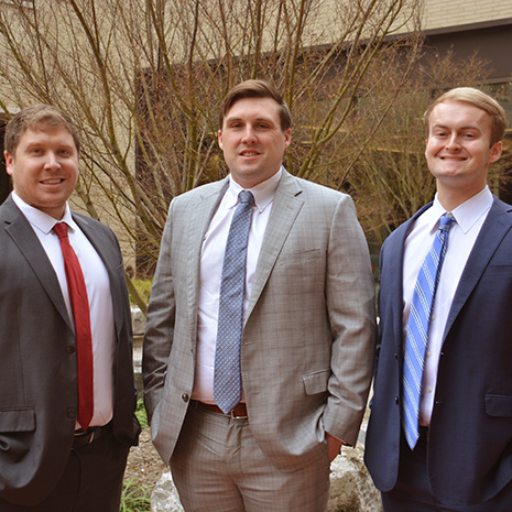 From left to right, second-year students Justin Laswon, Hunter Pope and Patrick Dowling