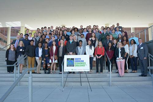 All attendees of SC Econ Day on the front steps of the Moore School