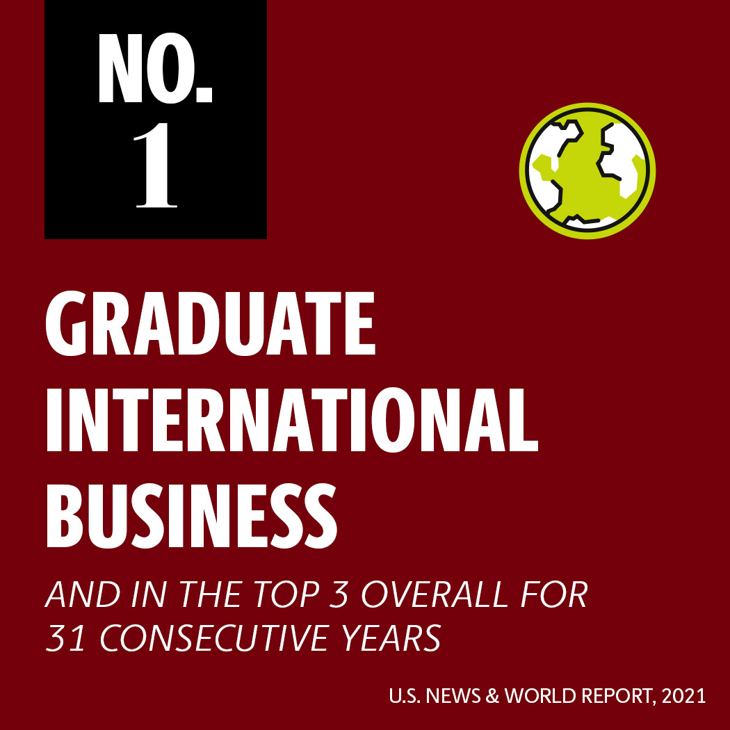 International MBA ranked no. 1 by U.S. News and World Report 2021 and in the top 3 overall for 31 consecutive years
