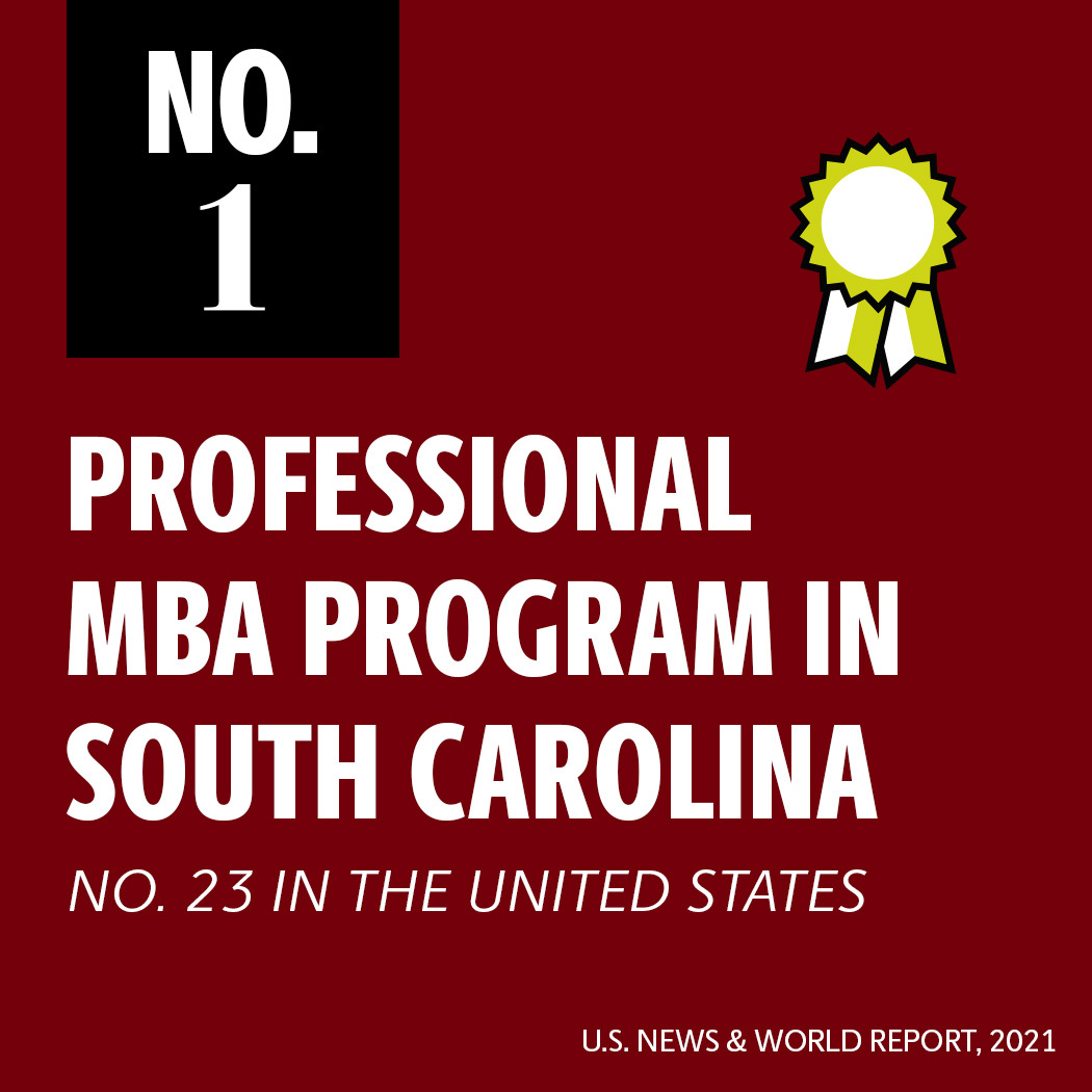 No.1 Professional MBA program in South Carolina, No. 23 in the United States, U.S. News and World report 2021 and ranked no. 23 in the U.S.