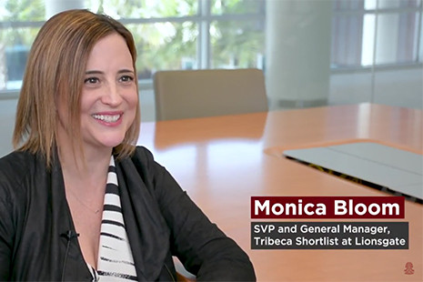 Screencap of Marketing Scholars video featuring Monica Bloom, SVP and general manager at Lionsgate