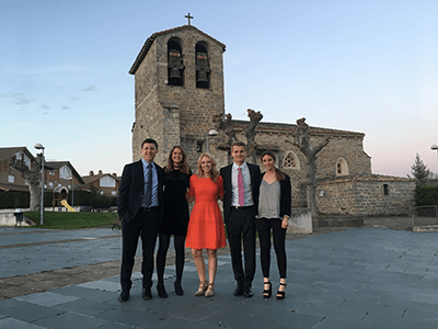 Rachel Lunsford with her winning case competition team in Spain