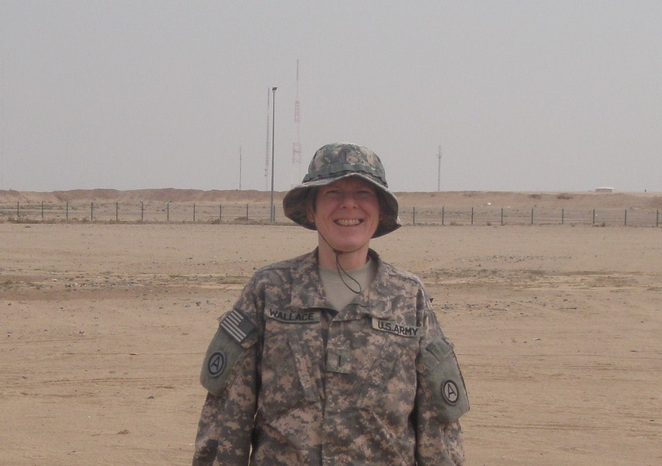 "Kuwait when she was serving with Third Army/U.S. Army Central Command, ""Patton's Own."""