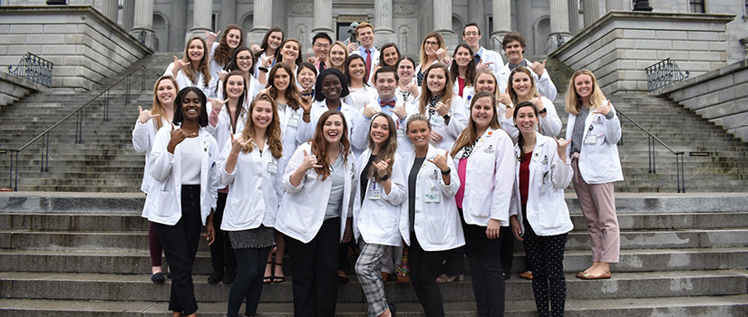 Pharmacy students on the steps of the S.C. State House