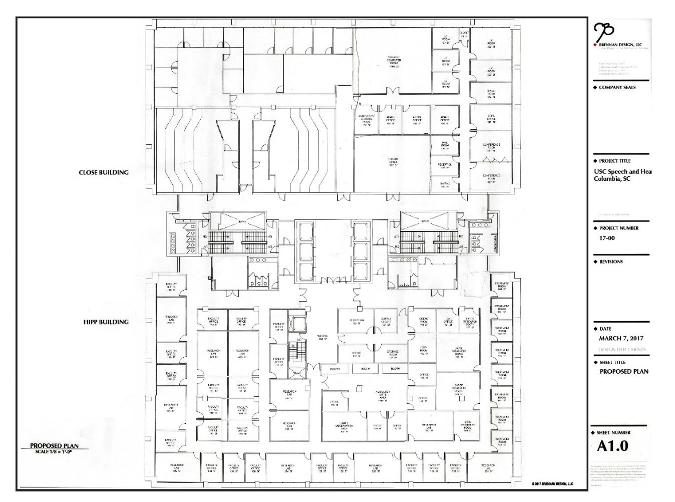 Blue Print of the new space for the COMD department and Montgomery Clinic in the Close-Hipp building.
