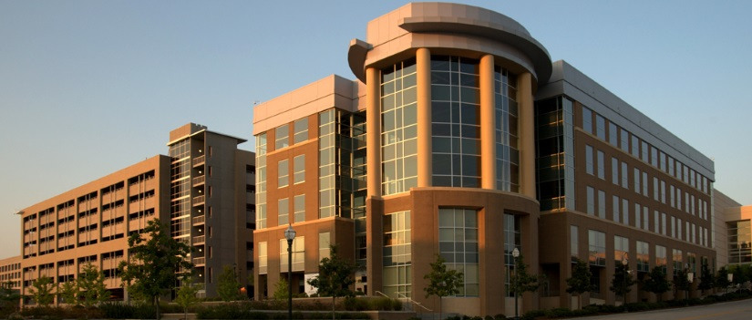 Outside view of the Arnold School of Public Health Discovery 1 building
