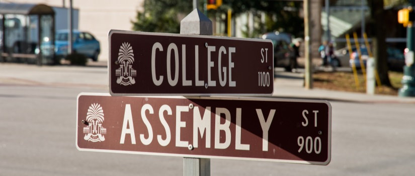 Street sign showing College and Assembly streets in Columbia, SC