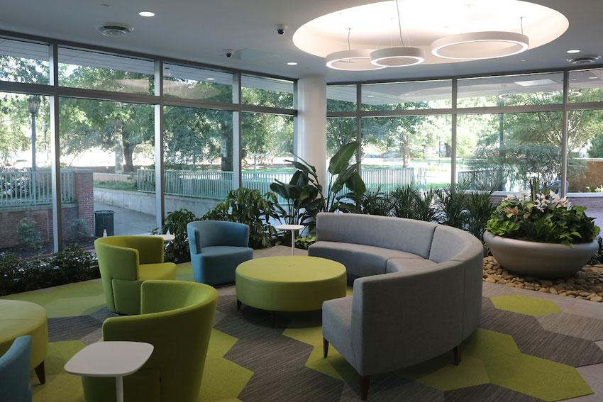 Lush plants, ample seating and abundant natural light give the new student health center an inviting feel. Photo: Kim Truett