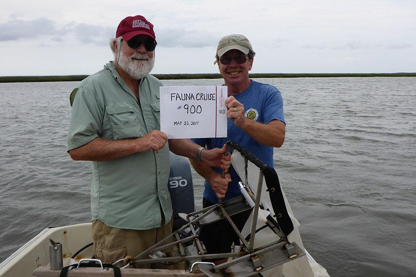 Baruch Field Lab resident director Dennis Allen (left) and boat captain Paul Kenny have worked together collecting samples in the North Inlet Estuary for 35 years. They completed the long-term study's 900th cruise this summer and continue to research small animal populations in the waters near Georgetown, South Carolina.