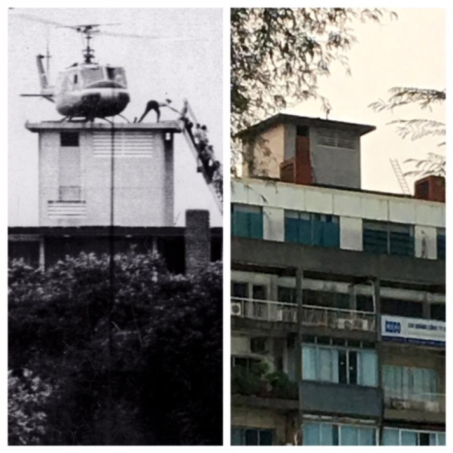 The image on the left is a memorable one for many Americans of the fall of Saigon. Today, that same building on the right in Ho Chi Minh City.