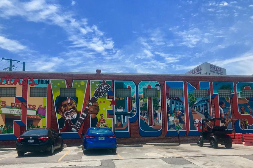 Brand new Five Points mural that spells out the area's name.