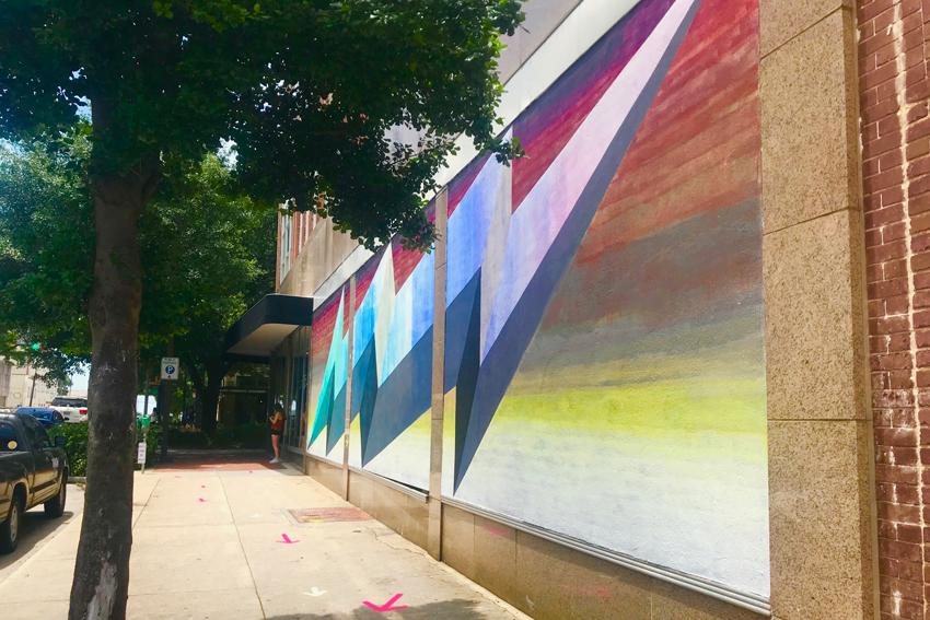 "Abstract ""Waterlines"" mural in downtown Columbia."