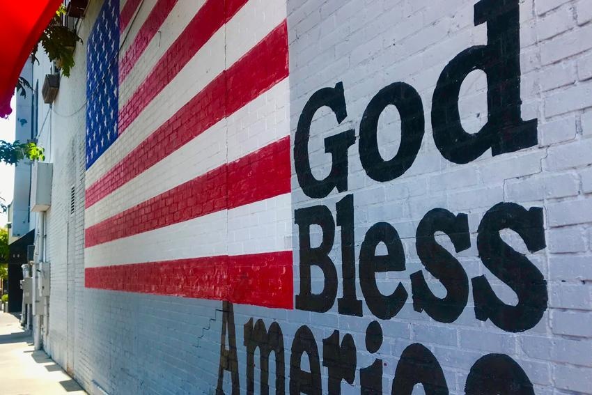 "Patriotic ""God Bless America"" mural in Five points located on the side of Yesterday's."