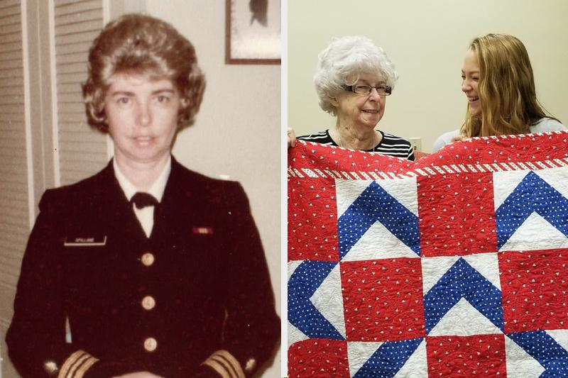 Nurse Sue Spillane served in Naval hospitals around the country. She also is a quilter involved with Quilts of Valor, which provides patriotic-themed quilts to service members and veterans touched by war. Spillane, who was interviewed by student Tessa Cox, also was presented with a Quilt of Valor in honor of her military service.