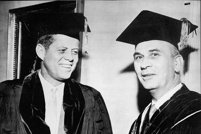 Senator John F. Kennedy and South Carolina Governor Donald S. Russell are pictured in commencement attire.
