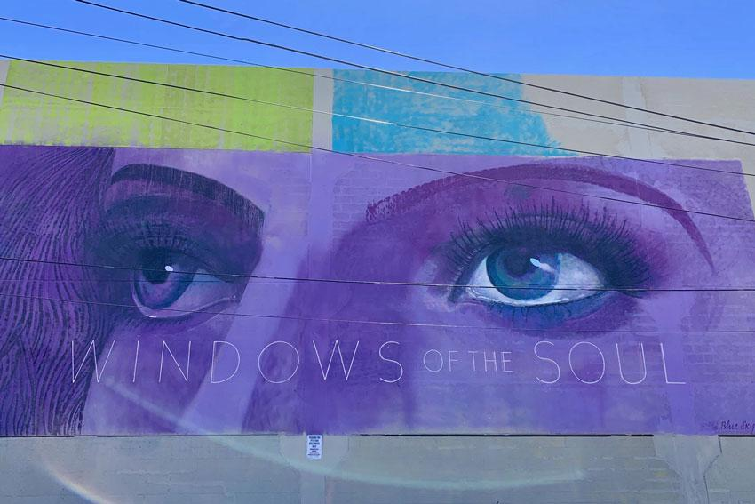 BlueSky Eyes are the Window to the Soul mural in the Vista.