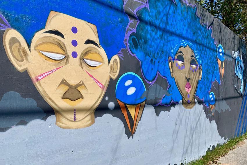 Love, Peace, and Hip Hop mural on Millwood Avenue.
