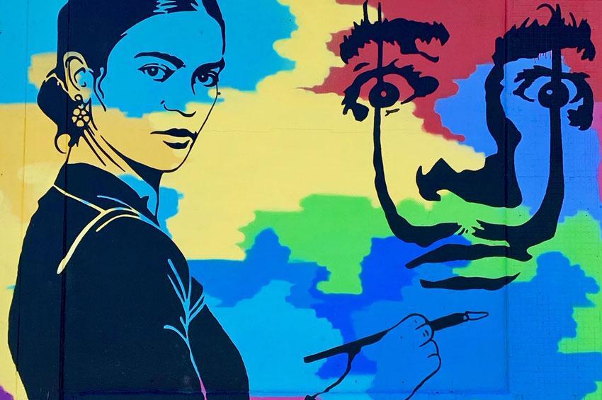 Frida Kahlo painting Salvador Dali mural also on Millwood Avenue
