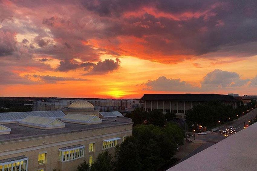 View of the sunset in Columbia at the top of the Horizon Parking Garage.