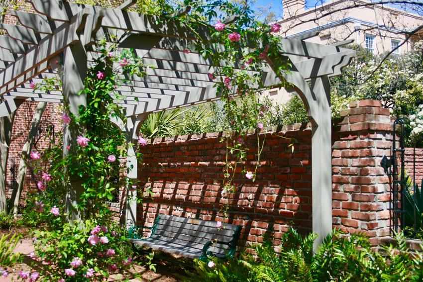 Garden trellis next to the journalism school.