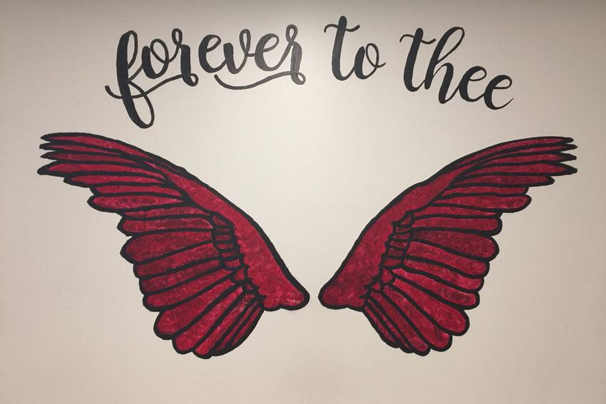 """Forever to Thee"" mini mural in the Russell House Student Union."