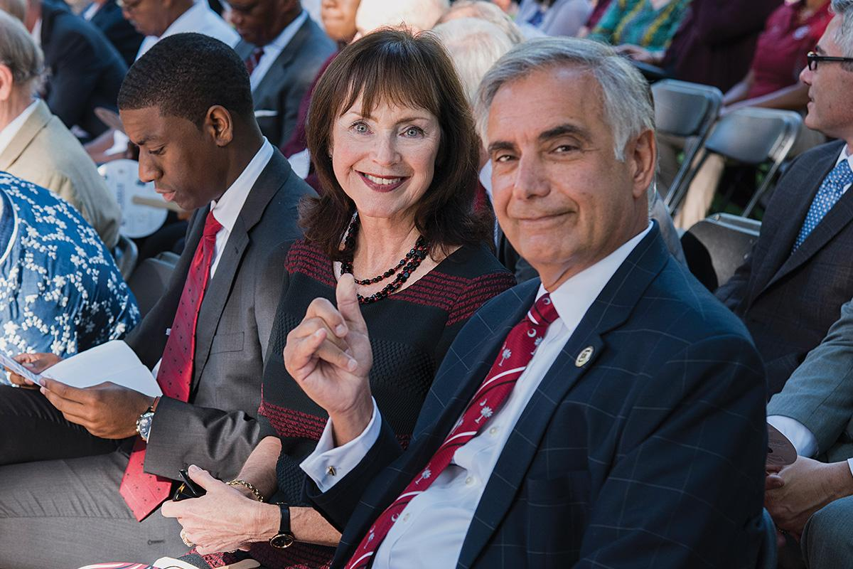 Harris Pastides and Patricia Moore-Pastides at the State of the University event