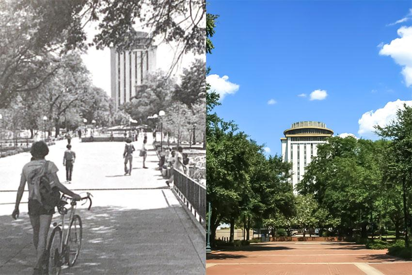 The image on the left is Capstone house in 1970 and the right is of the building today.