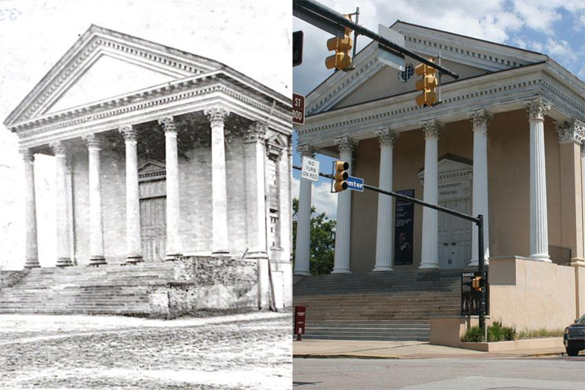 The image on the left is of Longstreet theater in 1875 and the image on the left is of the theater today.