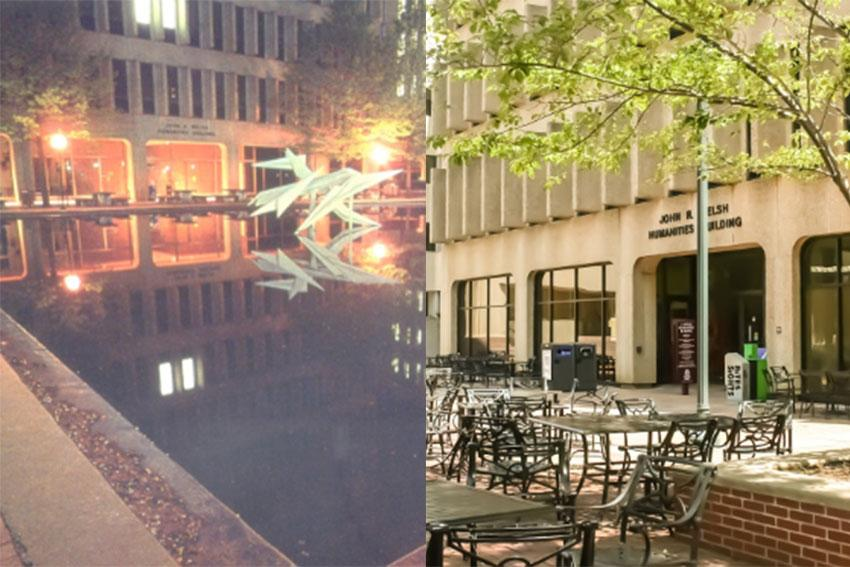 The image is on the left is of the Humanities in 1970. There is a fountain in front. The image on the left is of the humanities today, with tables and seating in front.