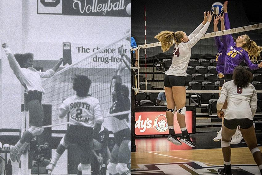 The image on the left is of the Gamecock Volleyball team playing at a game and the image on the left has the players in a similar position in 2019.