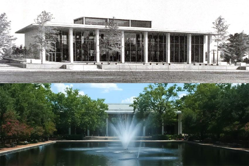 The top image is of Thomas Cooper Library in 1960 and the bottom image is of the library today.