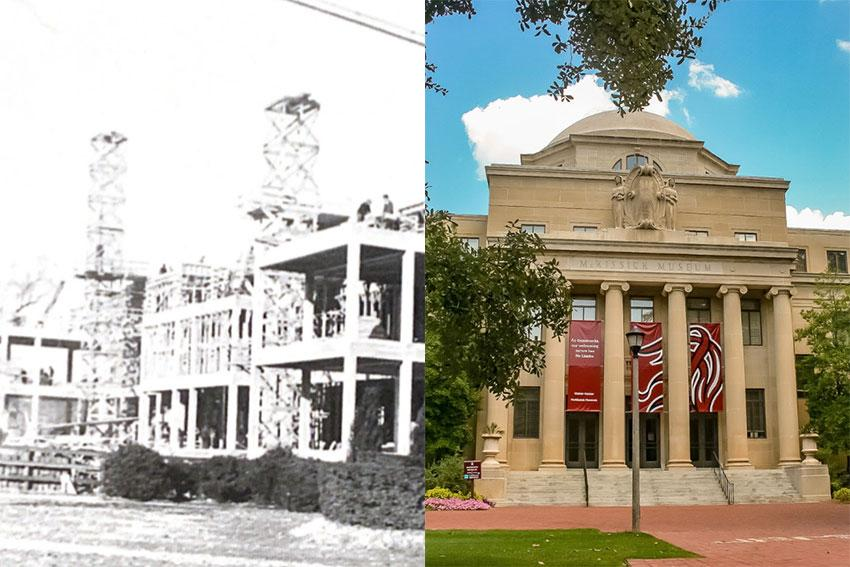 The image on the left is of the McKissick museum while it was under construction in 1939 and the image on the left is of McKissick today.